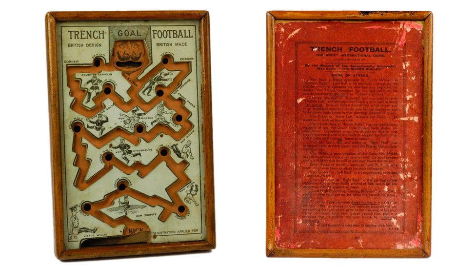 The front and back of the 'Trench football' game