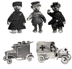 Two military toy vehicles and three teddy bears wearing military uniforms of the Russian, British and French armies