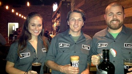 Lucky Town Brewery co-owner Angela Blackburn and colleagues