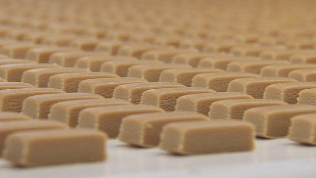 Chocolates on production line