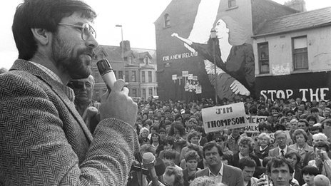 Sinn Féin's Gerry Adams addresses a rally in west Belfast in 1983