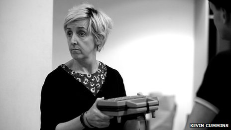 Julie Hesmondhalgh in rehearsals for Blindsided at the Royal Exchange