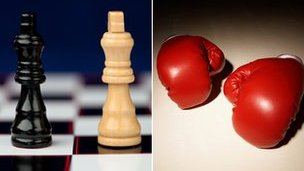 chess pieces; boxing gloves