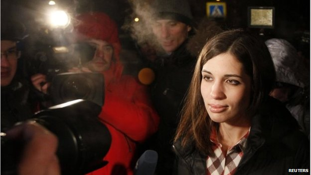 Nadezhda Tolokonnikova speaks to the media after she was released from prison in Krasnoyarsk, December 23