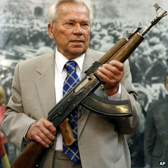 Kalashnikov holds his AK47 (file photo)