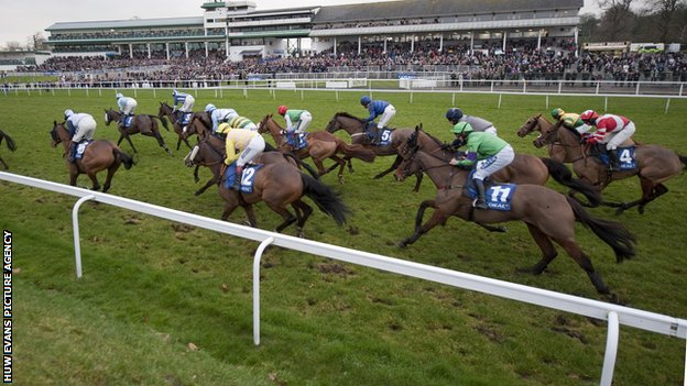 Horses racing in the 2012 Welsh National at Chepstow