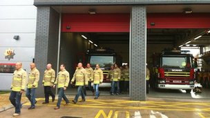 Firefighters walk out in Adam Street, Cardiff