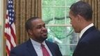 Author Joshua Dubois and President Obama in the Oval Office