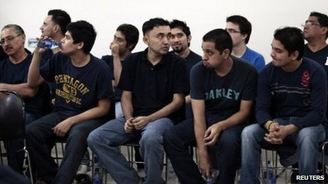 Some of the 18 Mexicans who had been found guilty of drug trafficking, money laundering and organised crime, attend their appeal hearing in Managua on April 16, 2013