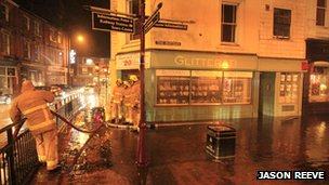 Flooding in the Pantiles area of Tunbridge Wells, Kent
