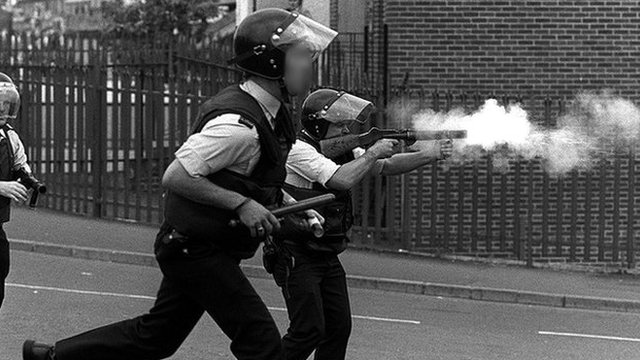 Police fire plastic bullets in 1984