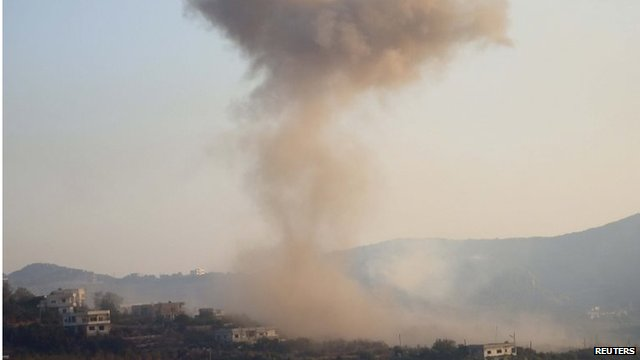 Smoke rises after reported air raid on Salma, Latakia (file photo)