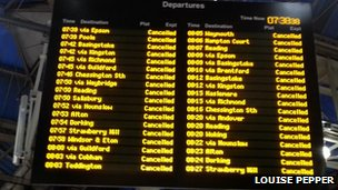 Cancellations at Waterloo Station in London
