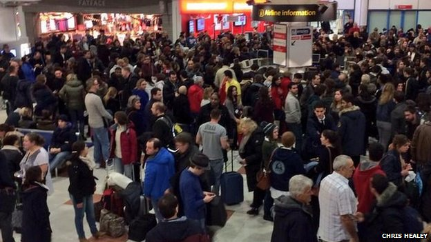 Passengers waiting at Gatwick Airport