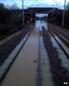 Flooding at West Horndon station