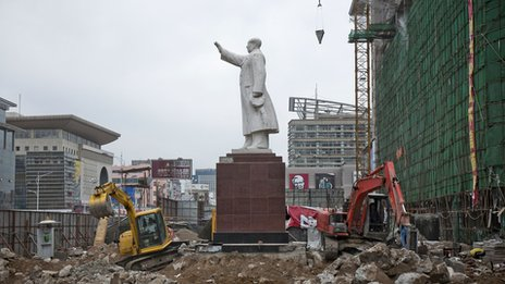 Mao statue surrounded by construction work at Baotou City, Inner Mongolia, 2010
