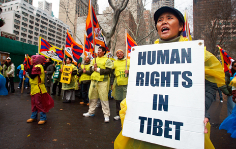 """human rights in Tibet"" protester"