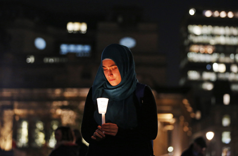 Egyptian woman holds vigil for human rights