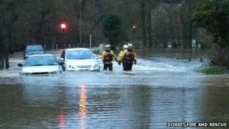 Floodwater rescue in Sturminster Newton