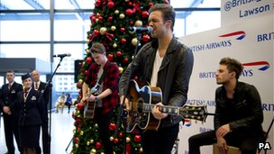 Lawson playing at Gatwick Airport