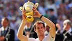 Andy Murray lifts Wimbledon trophy