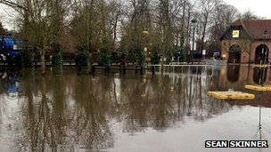 Morrisons car park in Reigate under floodwater