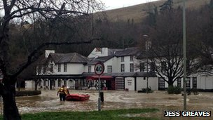 Flooding at the Burford Bridge Hotel, Mickleham