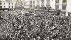 Crowds at Bishop Auckland Market Place in April 1955 to welcome home the cup winners.