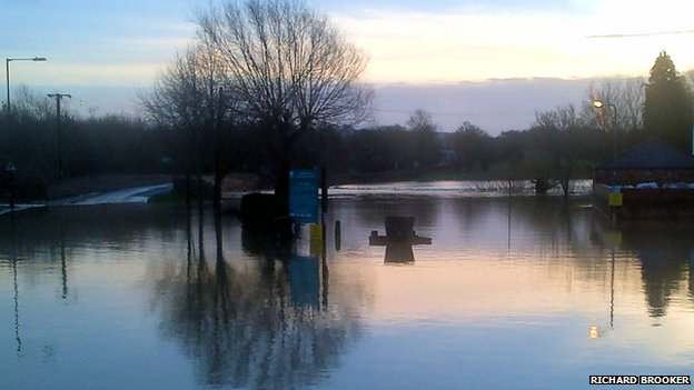 Mill Street car park in Warwickshire flooded