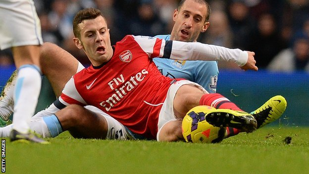 Arsenal midfielder Jack Wilshere in action in the defeat at Manchester City