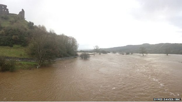 Flooding near Castell Dryslwyn in the Towy Valley on Christmas Eve