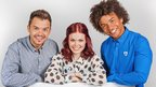 Barney Harwood, Lindsey Russel and Radzi Chinyanganya pose together for photo
