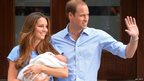 The Duke and Duchess of Cambridge show their new-born baby boy to the world.