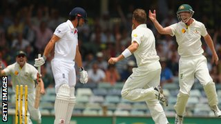 Alastair Cook of England looks dejected after being bowled by Ryan Harris of Australia during day four of the Third Ashes Test Match between Australia and England.