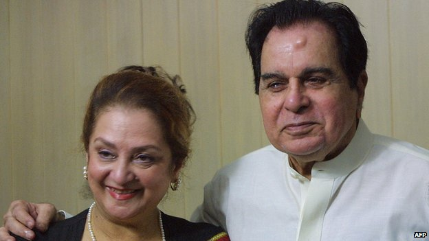 Actor Dilip Kumar with wife Saira Banu