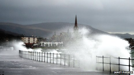 The Ayrshire town of Largs was battered by high winds
