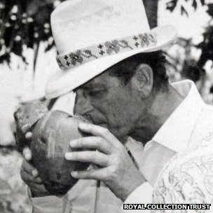 Prince Philip on a trip to the Cook Islands in 1974