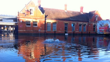 Flooded Newbury station