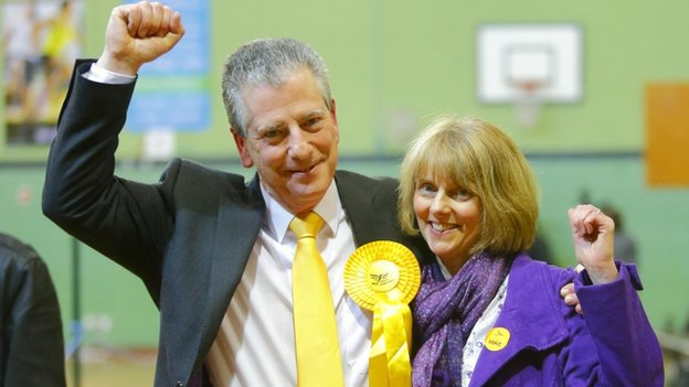 Lib Dem Eastleigh by-election winner Mike Thornton with wife Peta