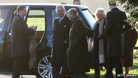 Prince Philip (centre), Prince Charles (second left) and Camilla, Duchess of Cornwall (third right) arrive at the service