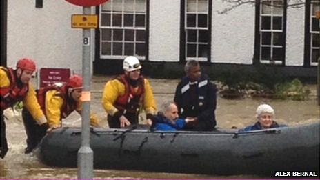 people rescued in a boat
