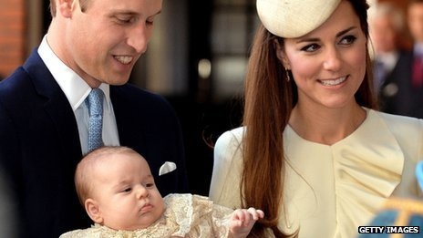 The Duke and Duchess of Cambridge at Prince George's Christening