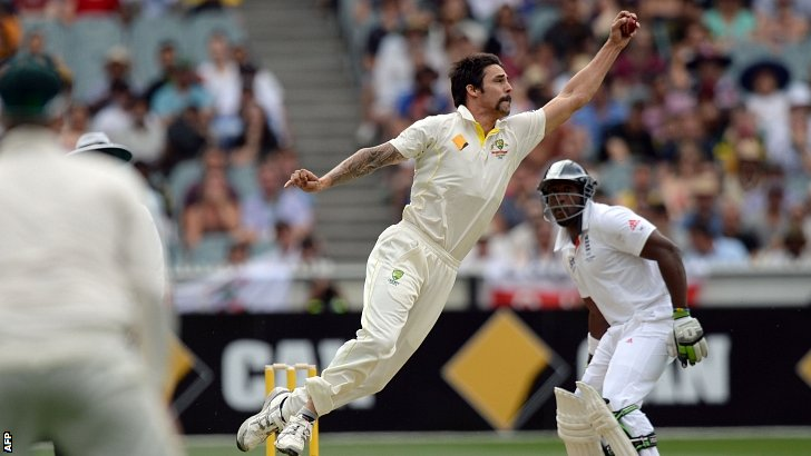 Mitchell Johnson fields off his own bowling