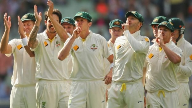 Australia gesture towards the Barmy Army