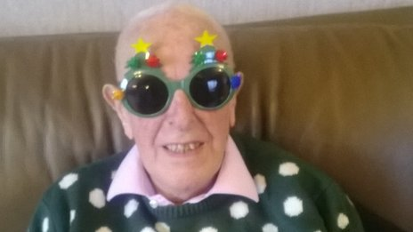 Fiona Stewart's father in law Sam Stewart, aged 92, showing that you are never too old to enjoy the Christmas spirit!