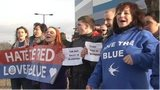 A group of Cardiff fans at an earlier protest outside the club
