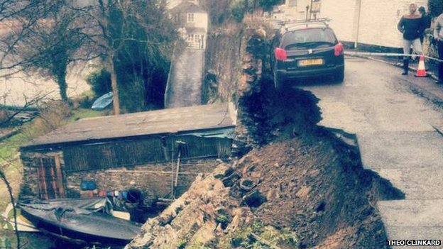 Collapsed road in Lower Kelly in Calstock, Cornwall