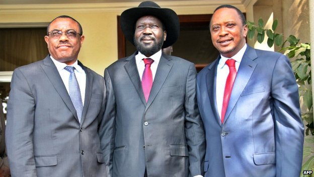 South Sudan President Salva Kiir (middle) posing in a photograph with his Ethiopian and Kenyan counterparts Hailemariam Desalegn (left) and Uhuru Kenyatta (right) on 26 December 2013 in Juba