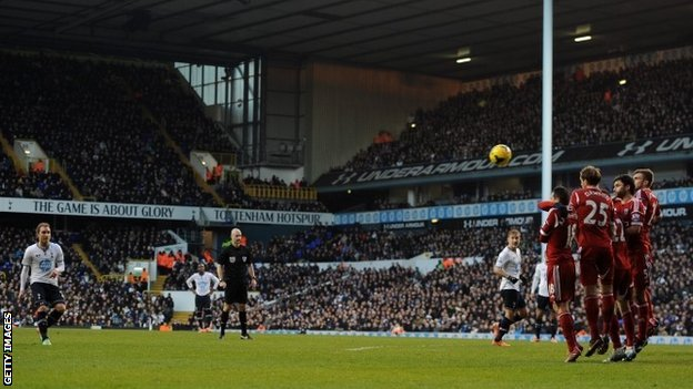Christian Eriksen bends the ball over the West Brom wall and under the bar to give Spurs the lead