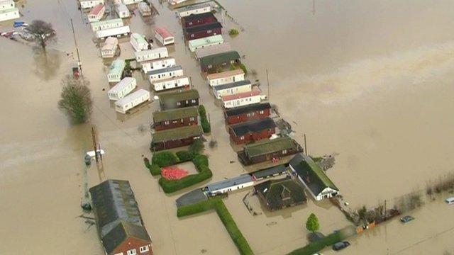 Flooded caravan park in Yalding in Kent